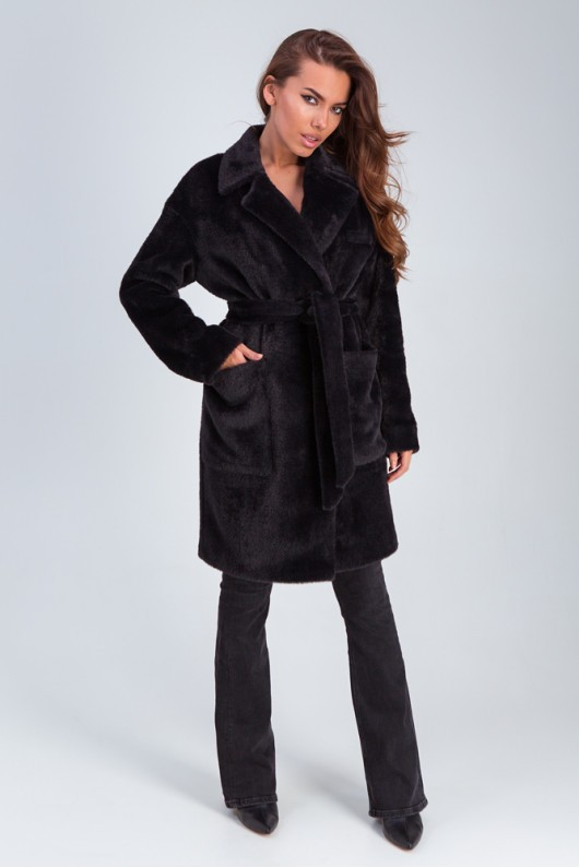 Стильное меховое пальто «Ума» черное