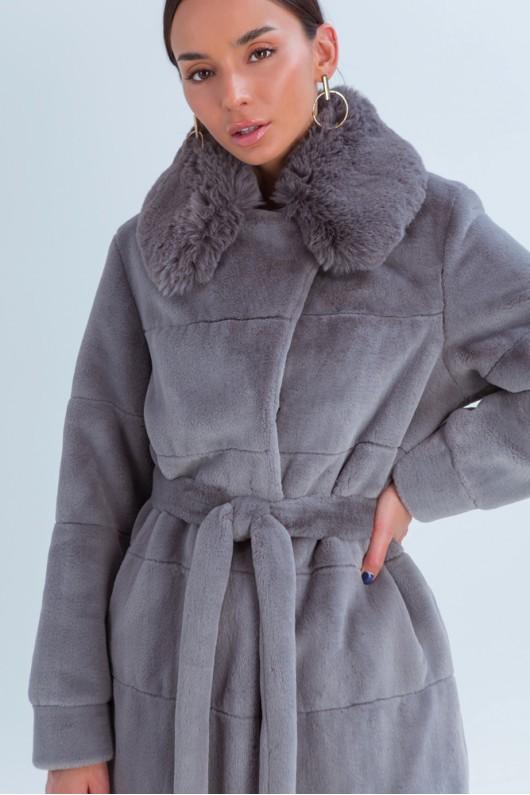 Зимняя эко шуба «Винтер» темно-серая