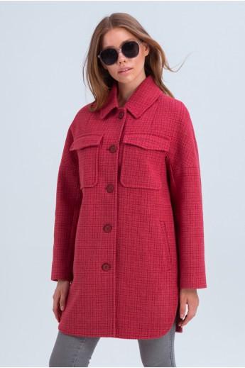 Пальто-рубашка «Майли» коралловое