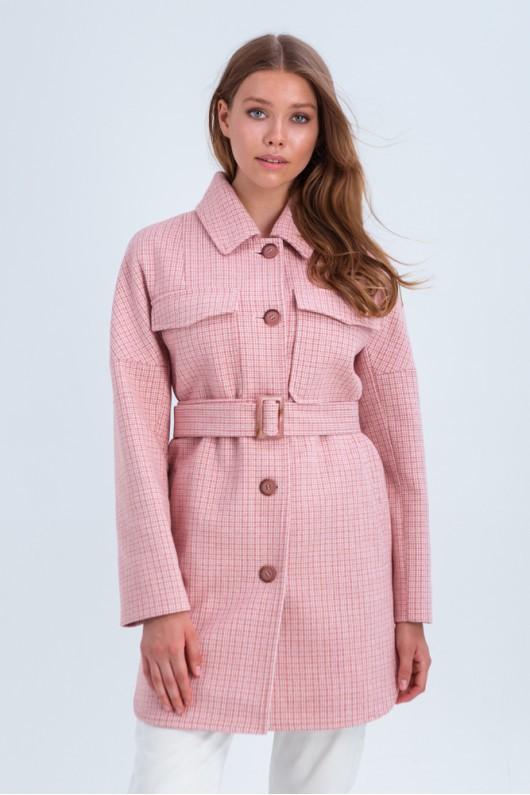 Пальто-рубашка «Майли» розовое