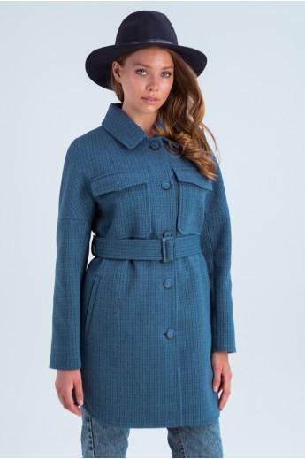 Пальто-рубашка «Майли» синее