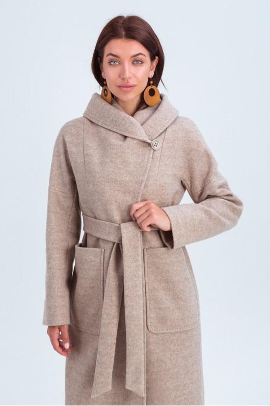 Пальто с капюшоном и накладными карманами «Лаура» бежевое
