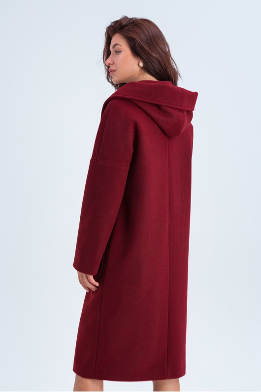 Пальто с капюшоном и накладными карманами «Лаура» бордовое