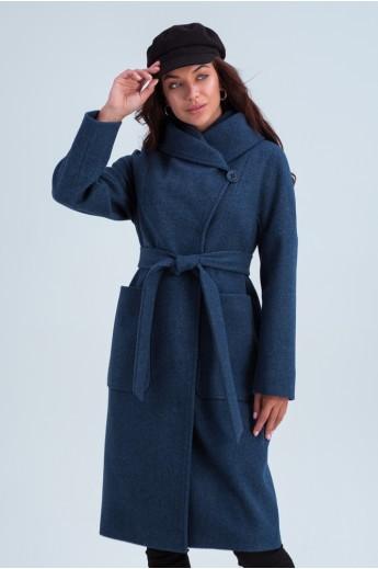 Пальто с капюшоном и накладными карманами «Лаура» джинсовое