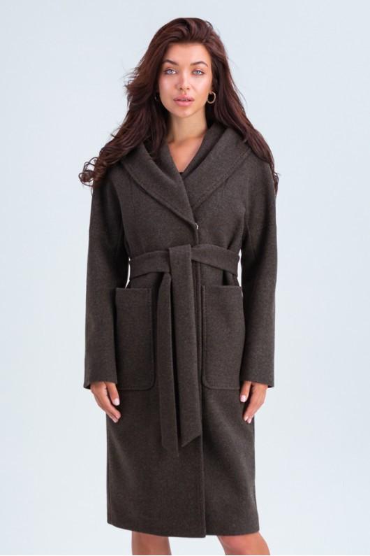 Пальто с капюшоном и накладными карманами «Лаура» коричневое