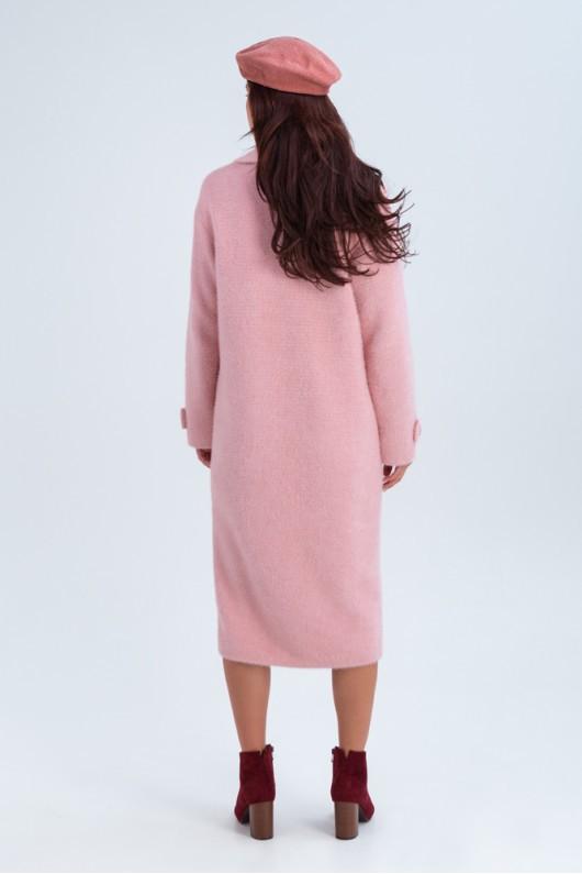 Двубортное пальто «Катарина» розовое
