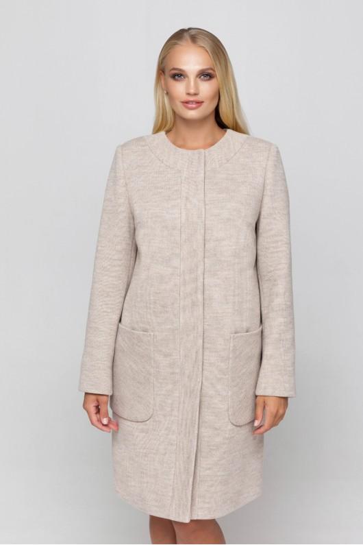 Полномерное пальто из трикотажа «Лиди» бежевое