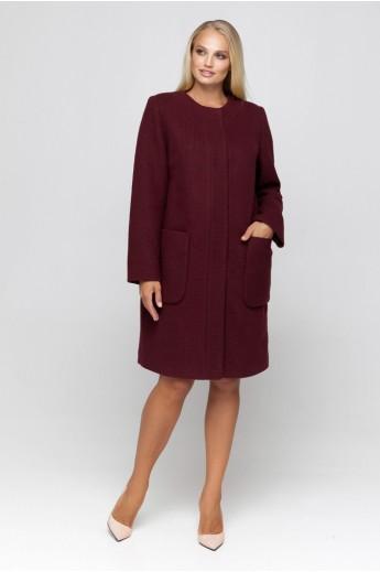 Полномерное пальто из трикотажа «Лиди» бордовое