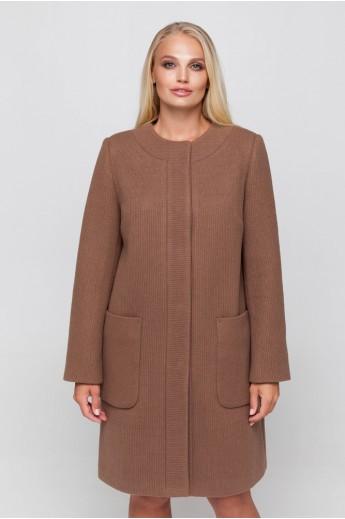 Полномерное пальто из трикотажа «Лиди» светло-коричневое