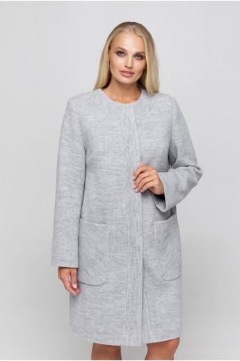 Полномерное пальто из трикотажа «Лиди» светло-серое