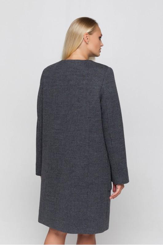 Полномерное пальто из трикотажа «Лиди» темно-серое
