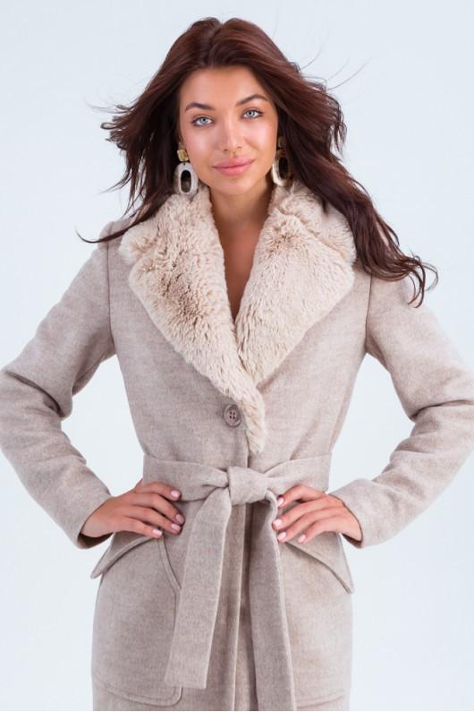 Зимнее пальто с искусственным мехом «Пандора» бежевое
