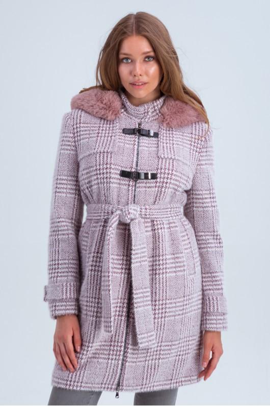 Зимнее пальто в клетку с мехом «Корделия» марсала