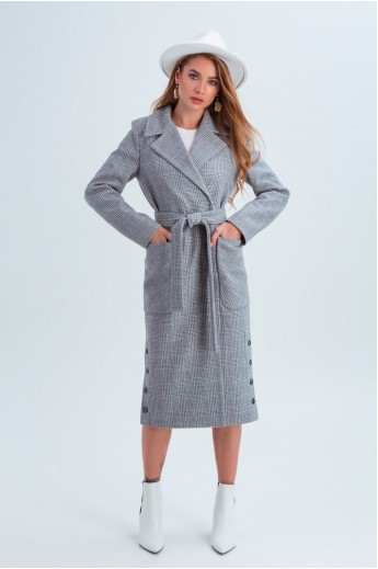 Женское демисезонное пальто в клетку «Асти» серое