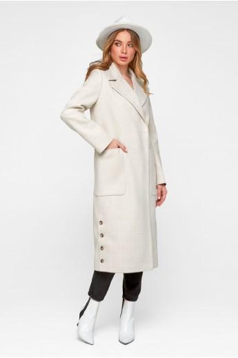 Женское демисезонное пальто в клетку «Асти» бежевое
