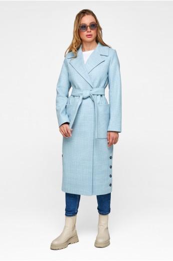 Женское демисезонное пальто в клетку «Асти» голубое