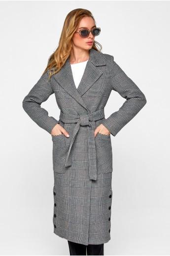 Женское демисезонное пальто в клетку «Асти» черное