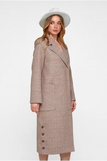 Женское демисезонное пальто в клетку «Асти» кэмел