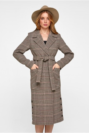 Женское демисезонное пальто в клетку «Асти» кофе