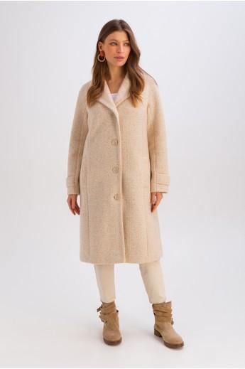 Весеннее пальто на пуговицах «Френсис» бежевое