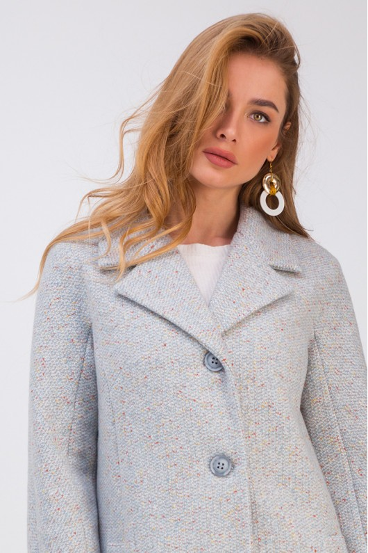 Весеннее пальто на пуговицах «Френсис» голубое