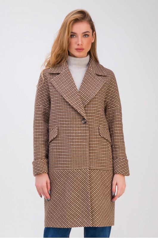 Демисезонное пальто-кокон «Коко» коричневое