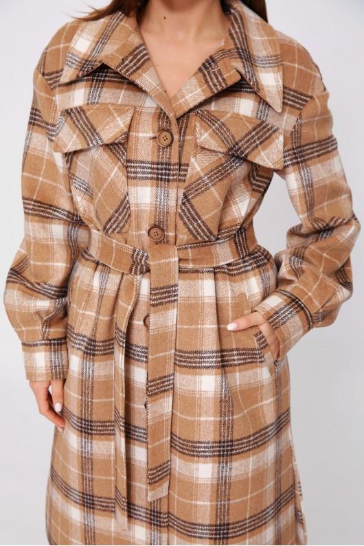 Длинное пальто-рубашка «Эван» бежево-коричневая