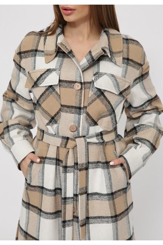 Длинное пальто-рубашка «Эван» бежевое