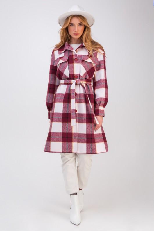 Длинное пальто-рубашка «Эван» бордовое