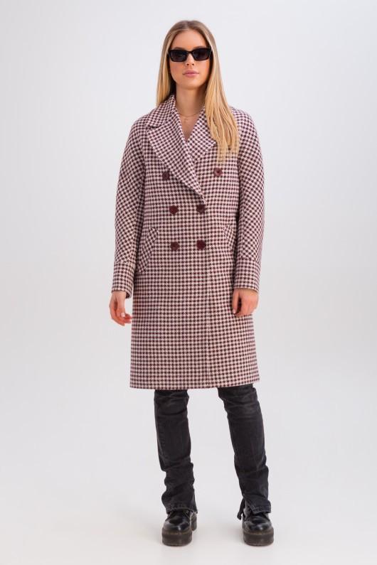 Двубортное шерстяное пальто «Келли» бордовое