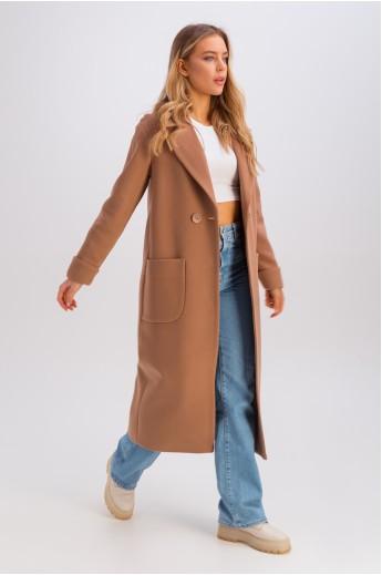 Пальто-миди с накладными карманами «Мариз» коньяк