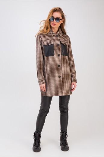 Рубашка в клетку с кожаными карманами «Кьяра» коричневая