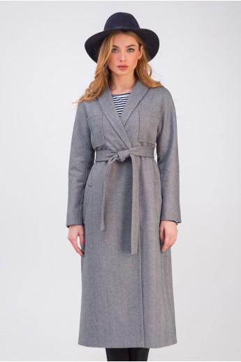 Легкое пальто ниже колена «Илана» черно-белое