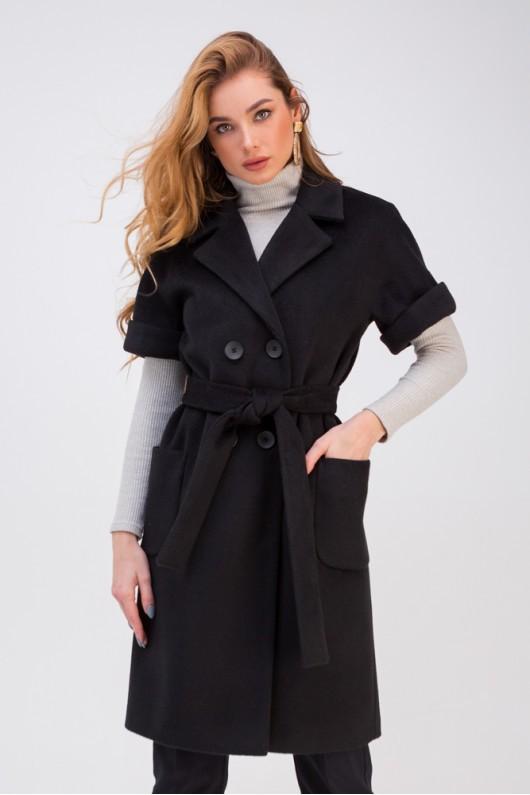Двубортная жилетка с накладными карманами «Орели» черная