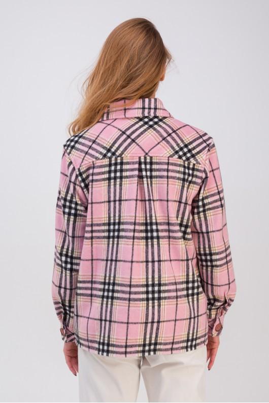 Стильная рубашка с накладными карманами «Флоранс» розовая