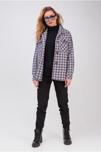 Стильная рубашка с накладными карманами «Флоранс» серо-синяя