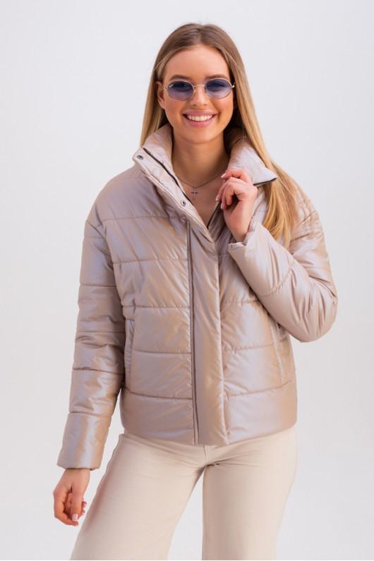Дутая куртка с воротником-стойкой «Джасти» бежевая