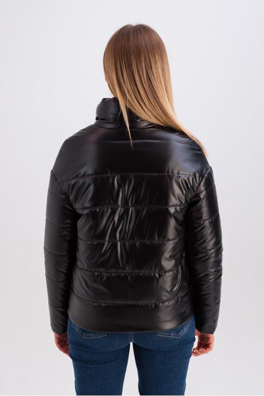 Дутая куртка с воротником-стойкой «Джасти» черная