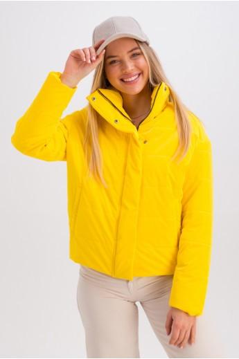 Дутая куртка с воротником-стойкой «Джасти» желтая