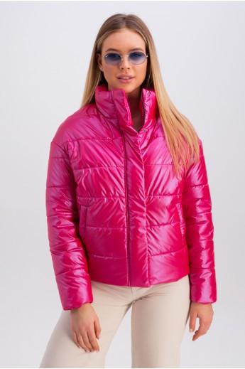 Дутая куртка с воротником-стойкой «Джасти» малиновая