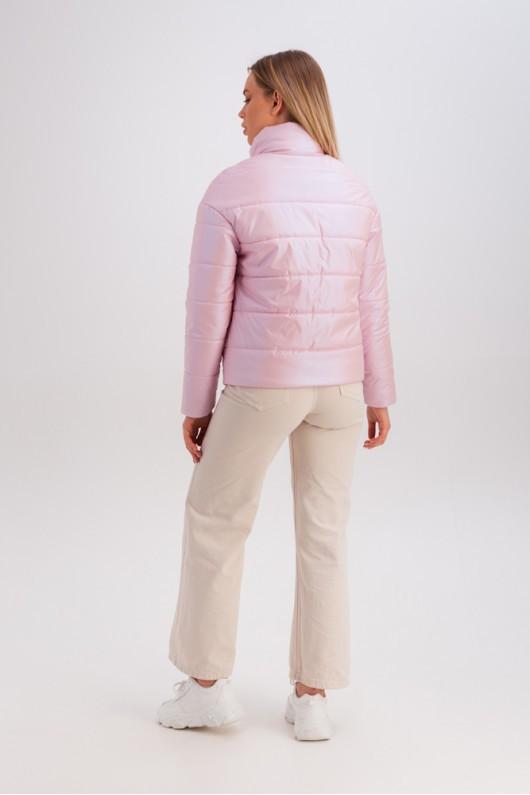 Дутая куртка с воротником-стойкой «Джасти» розовая