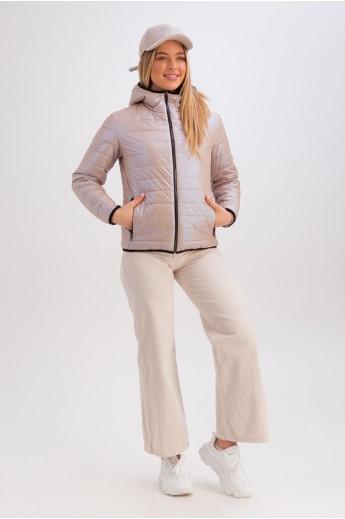 Короткая куртка с капюшоном на весну-осень «Трейси» бежевая