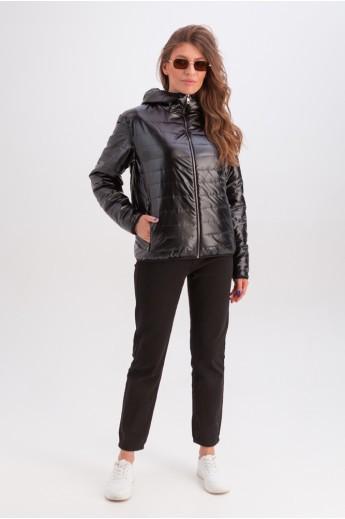 Короткая куртка с капюшоном на весну-осень «Трейси» черная