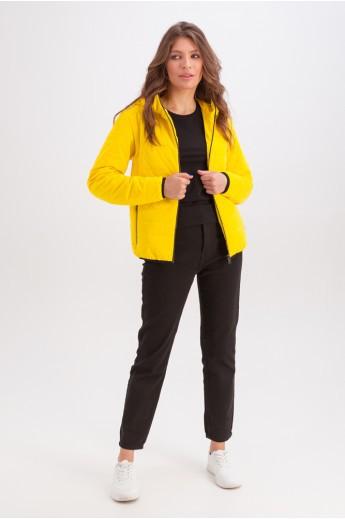 Короткая куртка с капюшоном на весну-осень «Трейси» желтая