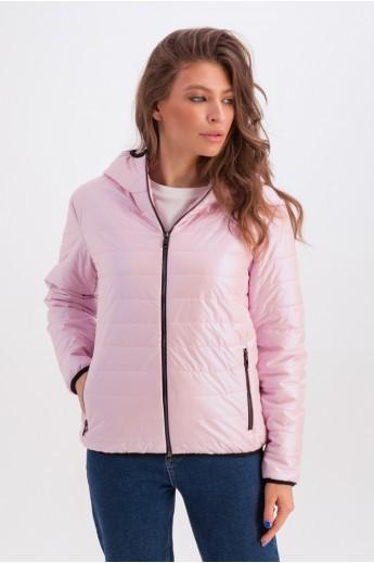 Короткая куртка с капюшоном на весну-осень «Трейси» розовая