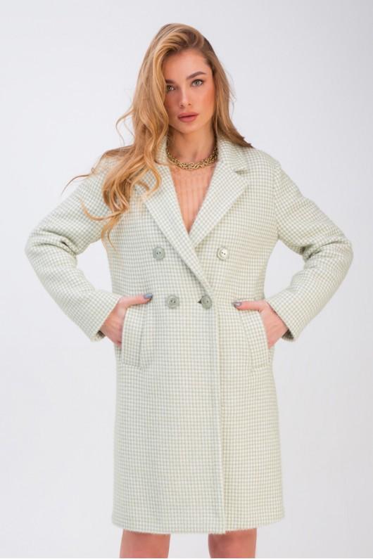 Прямое двубортное пальто в клеточку «Афина» фисташковое