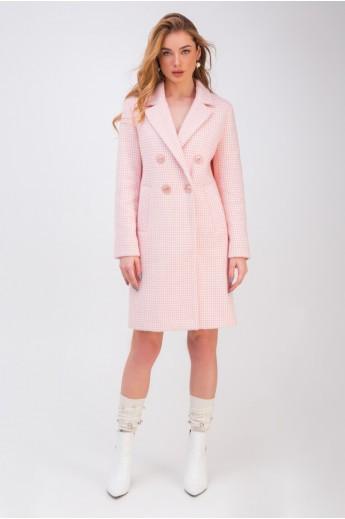 Прямое двубортное пальто в клеточку «Афина» розовое