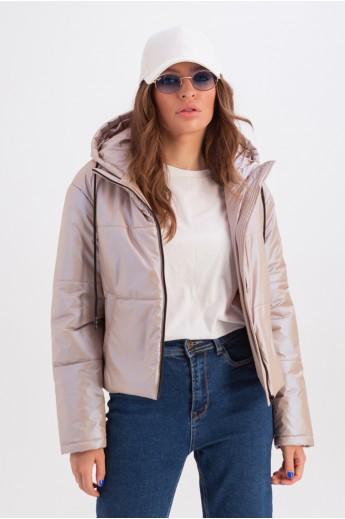 Короткая куртка с капюшоном «Окси» бежевая