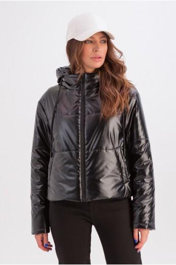 Короткая куртка с капюшоном «Окси» черная