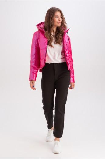 Короткая куртка с капюшоном «Окси» малиновая